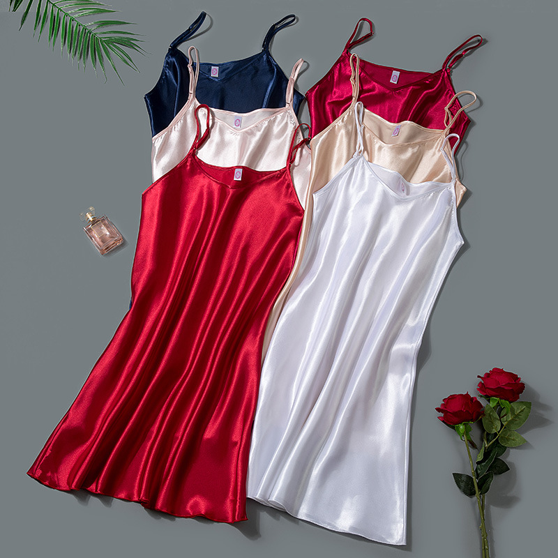 Summer New Sexy Nighty Sleepwear Casual Women Nightdress Home Clothing Mini Home Clothing Nightwear Silky Homewear Negligee