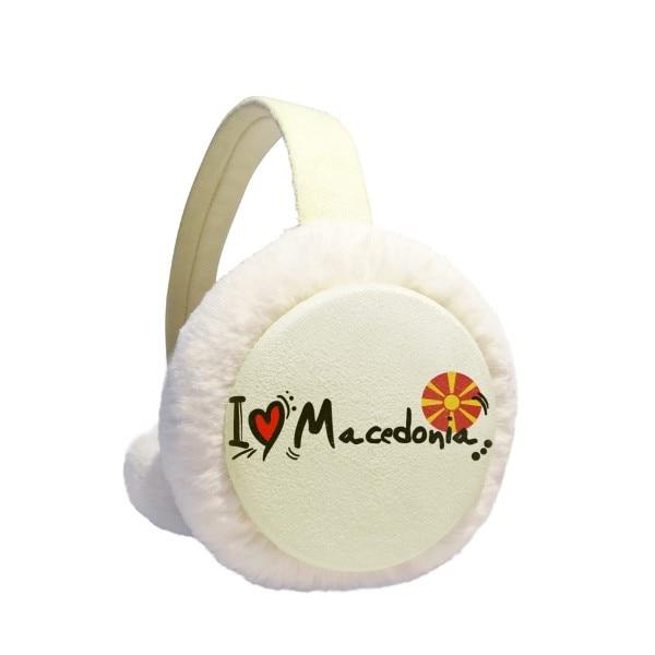 I Love Macedonia Word Flag Love Heart Illustration Winter Earmuffs Ear Warmers Faux Fur Foldable Plush Outdoor Gift