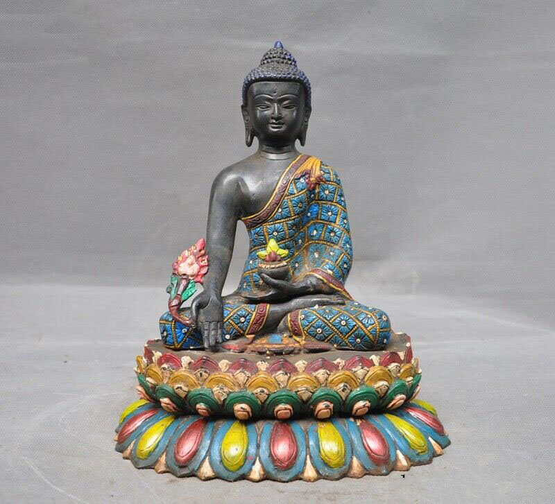 Wedding Decoration Tibet Buddhism Bronze Painted Nepal Medicine Buddha Sakyamuni Shakyamuni Statue