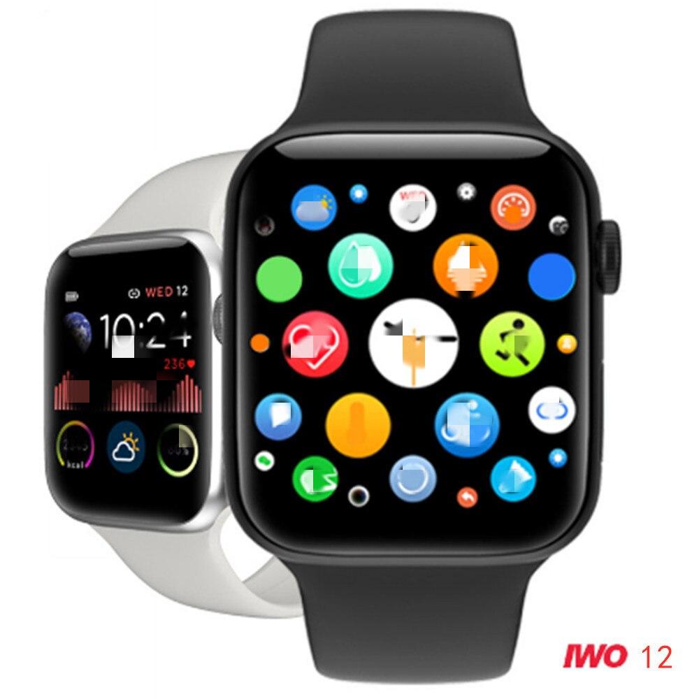 Iwo12 Smart Horloge Vrouwen Mannen Serie 5 Full Touch Screen Fitness Tracker Hartslag Bloeddrukmeter Smart Watch Vs W58 Iwo 8 10