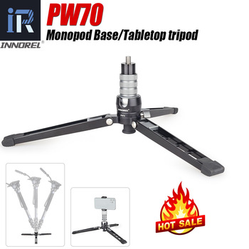 INNOREL PW70 Tabletop Tripod Monopod Base CNC 360 Degree Aluminum Foldable Camera Stand  with Ball Head,Screw and Phone Mount innorel rt30 professional aluminum alloy tripod monopod add ball head max height 197cm 77 6in for outdoor camera video recorder