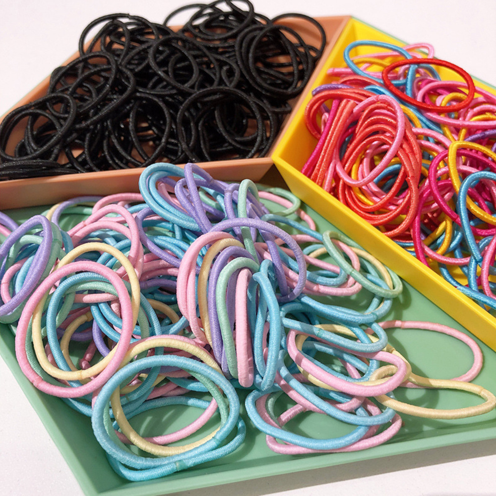 100PCS/Lot Girls Colourful Elastic Hair Bands Rubber Band Scrunchies Headband Ponytail Holder Gum For Hair Kids Hair Accessories