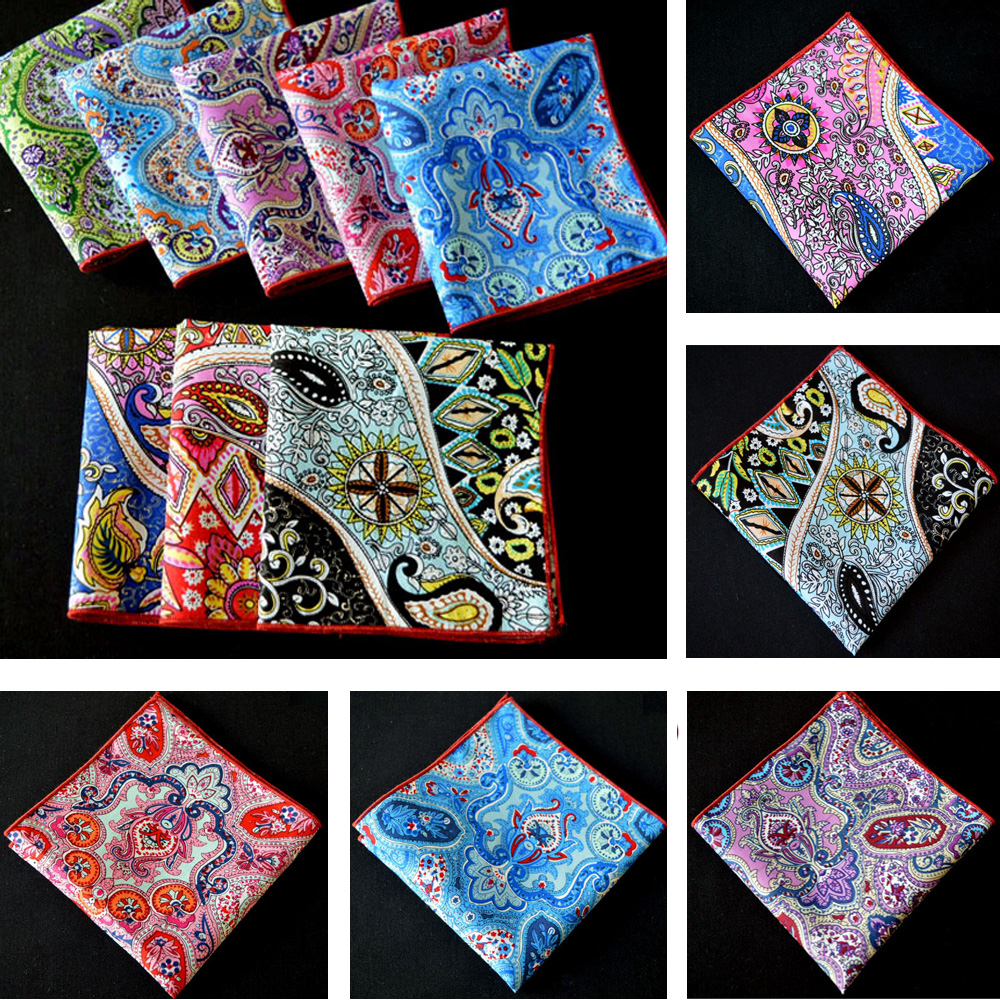 Men Stylish Cotton Paisley Floral Hanky Wedding Party Rolled Edge Pocket Square