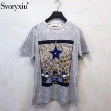 Svoryxiu дизайнерские весенне-летние хлопковые льняные футболки женские винтажные с тотемным принтом Модные топы с коротким рукавом женские футболки