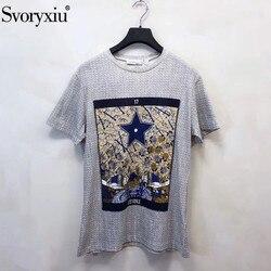 Svoryxiu Designer Frühling Sommer Baumwolle Leinen T Shirts frauen Vintage Totem Druck Mode Kurzarm Tops Tees Weiblich