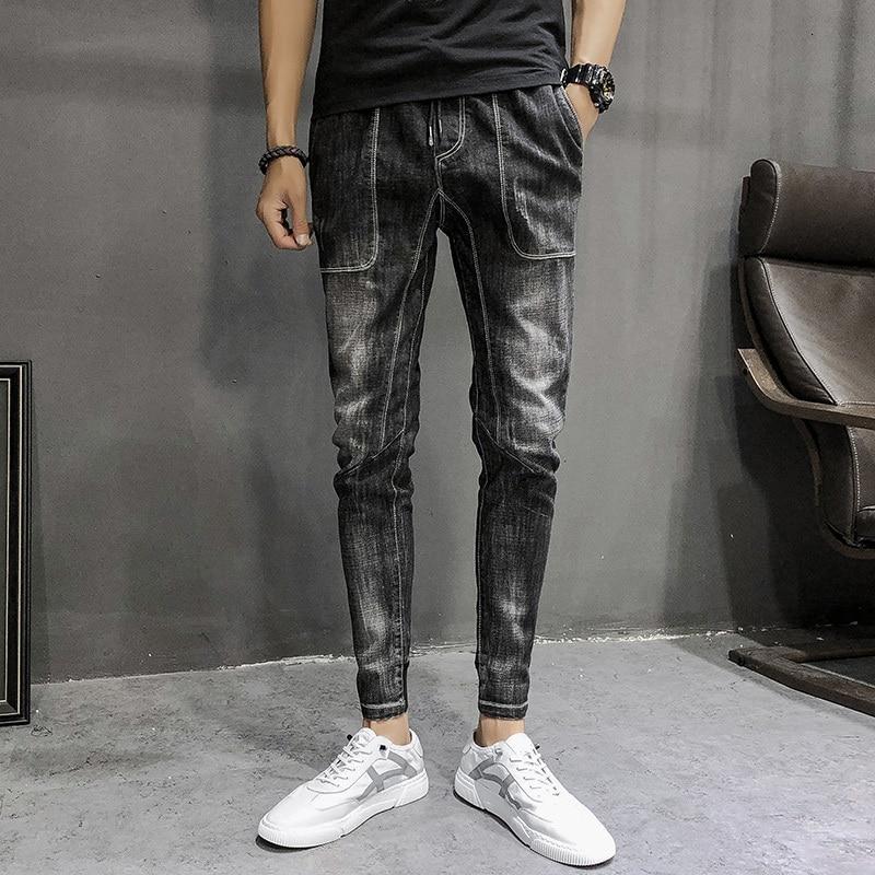 Осенние мужские джинсы с завязками, модные обтягивающие повседневные ретро джинсы, мужские уличные джинсы в стиле хип-хоп, мужские