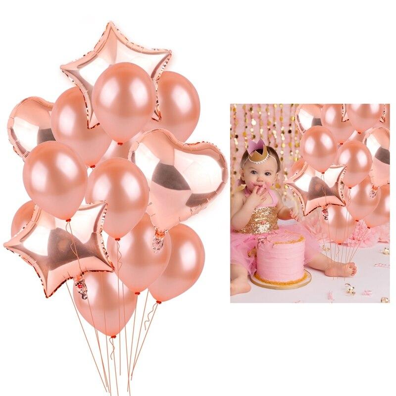 14 pièces or Rose feuille ballons ensemble Champagne étoile ballon joyeux anniversaire fête décoration mariage Latex ballon amour coeur Globos