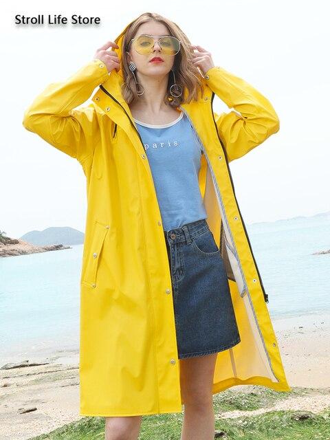Yellow Women Long Rain Coat Men's Waterproof Raincoat Outdoor Rain Poncho Hiking Adult Rain Jacket Windbreaker Impermeable Gift 3