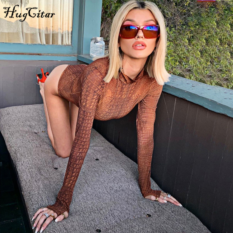 Hugcitar 2019 Crocodile Pattern Long Sleeve Bodycon Bodysuit Autumn Winter Women High Neck Print Streetwear Club Body
