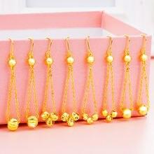 2020 Новые 24k Золотые сережки с кисточками женские длинные