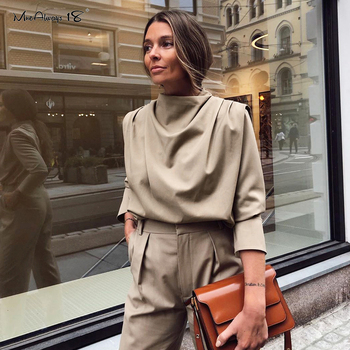 Mnealways18 Draped Solid Khaki Tops And Blouses Spring Elegant Office Blouse Women Ruched Work Top Long Sleeve Ladies Shirt 2020