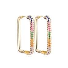 Boucles d'oreilles géométriques rectangulaires pour femmes, 1 paire, couleur or argent, arc-en-ciel, bijoux, 2020