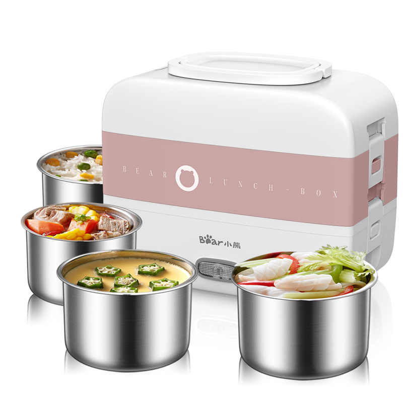 220V Electric Lunch Meals Heating Box Household Portable Electric Multi Cooker Rice Cooker With 4 Liners EU/AU/UK/US Plug