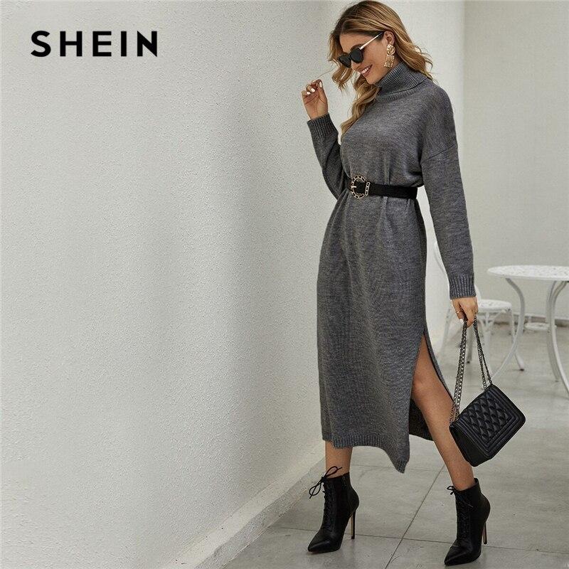SHEIN Grey Solid Funnel Neck Drop Shoulder Sweater Dress Without Belt Women Spring High Street Split Hem Casual Long Dresses
