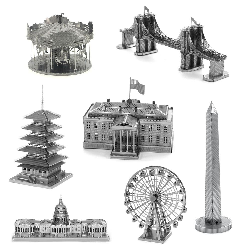Ancient Architecture 3D Metal Puzzle Building Towers Model Kits Laser Cut DIY Assemble Jigsaw Puzzle Toys Gifts For Kids Adult
