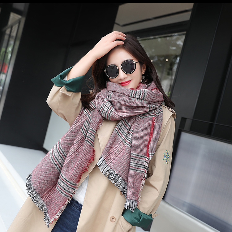 2018 New Style Autumn And Winter Lengthen Thick-Faux Cashmere Tassels Scarf Scarf Autumn And Winter Versatile Shawl Women's