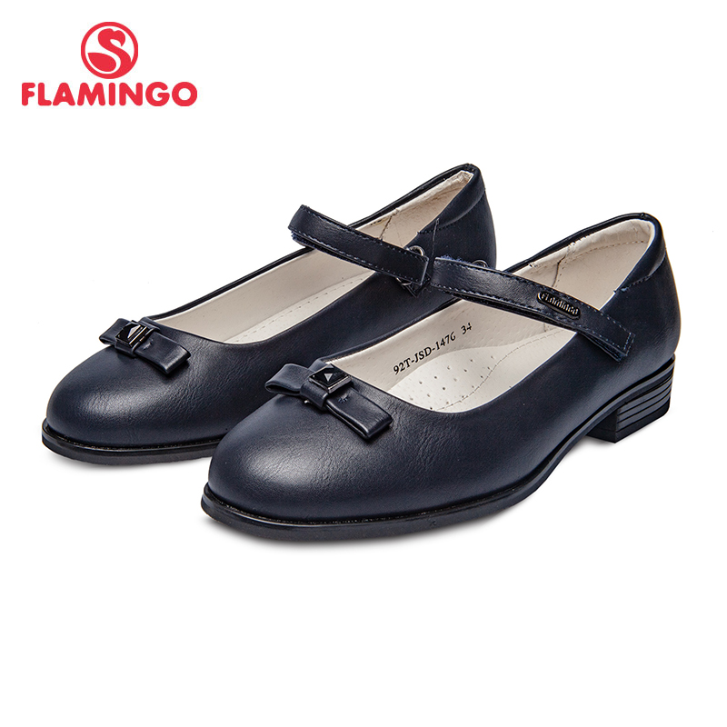 School shoes Flamingo 92T-JSD-1476/77 shoes for girls leather insole shoes for children 31-37 # flamingo new children shoes spring