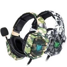K8 PS4 Headset Camouflage casque Wired PC Gamer Stereo Gaming Headphones with Mic LED Lights for XBox One/Laptop earphone new upgrade stereo headphone headset casque computer gaming headset ps4 with mic for pc game gamer earphone two pair of earmuffs