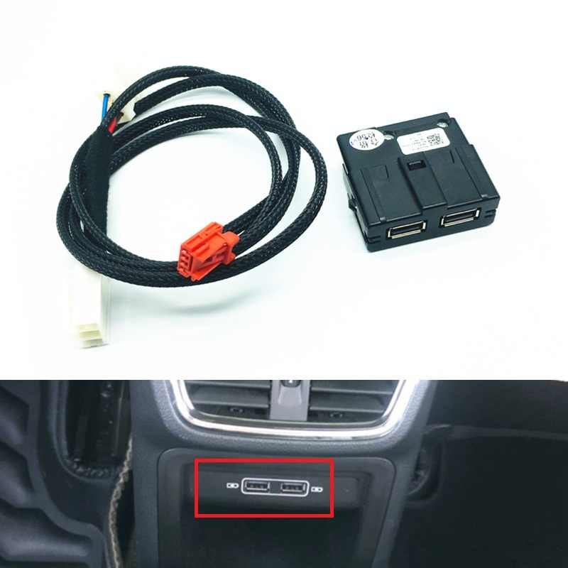 Auto Interieur Rear Dubbele Usb Adapter Charger Socket Armerst Usb Kabelboom Voor Tiguan 2 MK2 Teramont Octavia Superb Kodiaq
