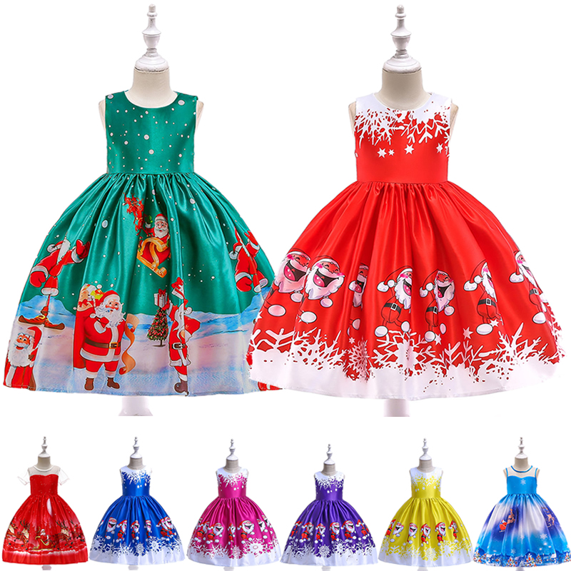 Girls Christmas Theme Print Dress Kids Party Ball Gown Santa Claus Prom Costumes 2019 New Design Formal Performance Clothing 1