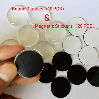 Personalized DIY,20 PCS 26mm Round Magnetic Refrigerator Sticker,10 30mm Glass,Fit Glass Cabochon Fridge Magnet