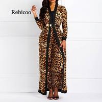 Женский костюм, наборы, сексуальный леопардовый принт, для девушек, весна, осень, длинный рукав, пальто и штаны, костюмы, Повседневная мода, б...