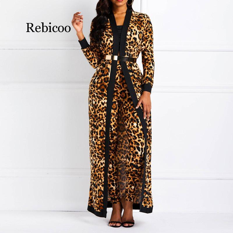 Women Suit Sets Sexy Leopard Print Ladies Spring Autumn Long Sleeve Coat & Pantsuits Casual Fashion Trouser Outfits