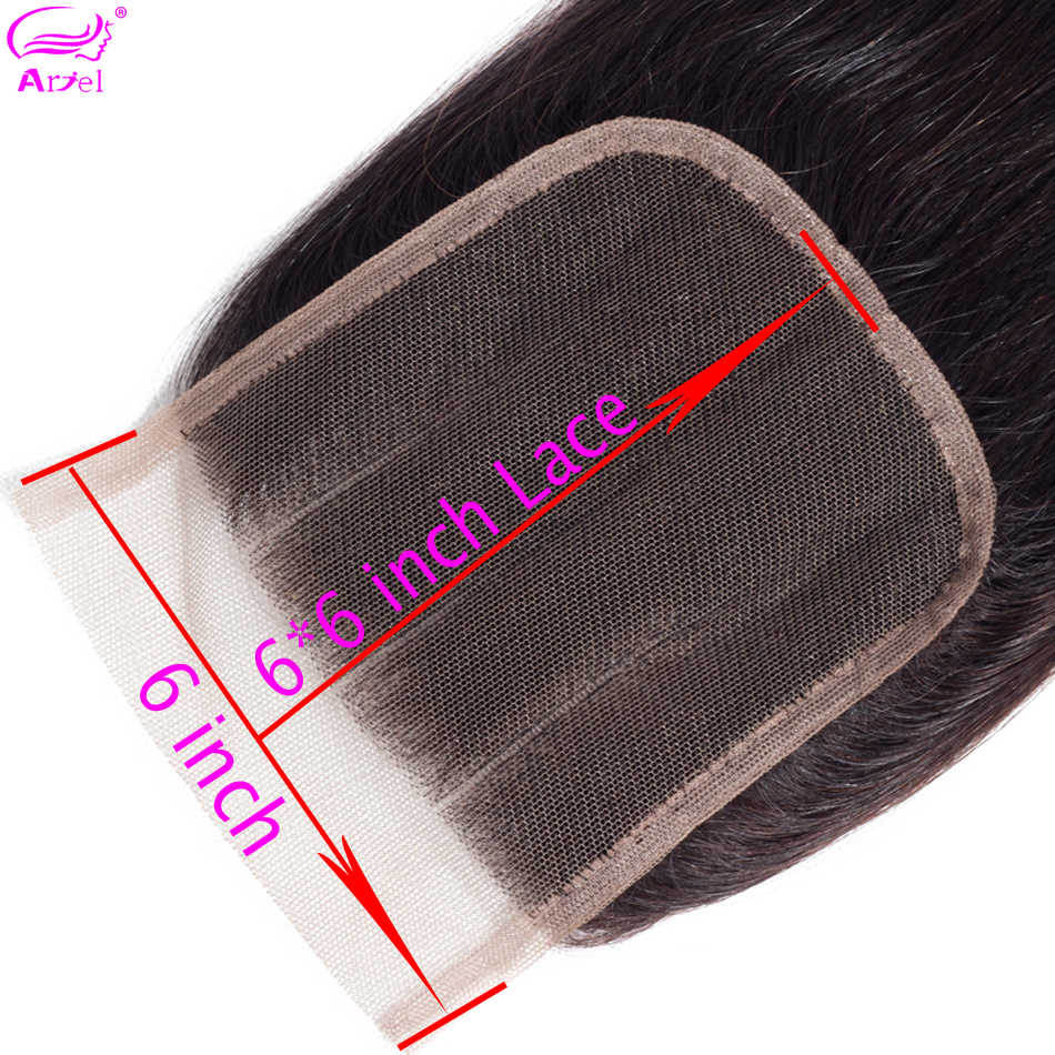 Ariel 6x6 zamknięcia koronki prosto zamknięcia Remy brazylijski włosy zamknięcie Cheveux Humain szwajcarska koronka Frontal uzupełnienie splotu ludzkich włosów 6x6 zamknięcie