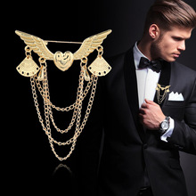 Metal Heart Wings Gold Brooches Vintage Tassel Multi-layer Chain Collar Lapel Pin Suit Brooch Pins Buckle Women Men Accessories