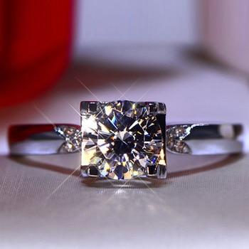 오리지널 플래티넘 & 925 실버 브릴리언트 컷 1 캐럿 D 컬러 다이아몬드 테스트 과거 Moissanite 약혼 반지 여성 보석 쥬얼리