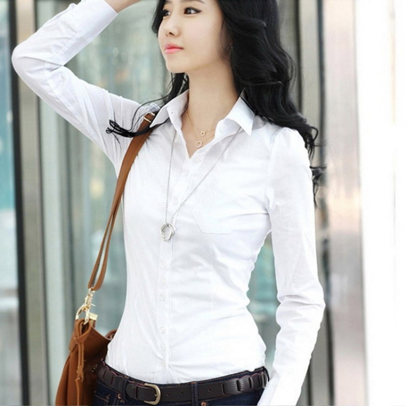 Fashion Summer Qualities Women's Office Lady Formal Party Long Sleeve Slim Collar Blouse Casual Solid White Shirt Tops NS