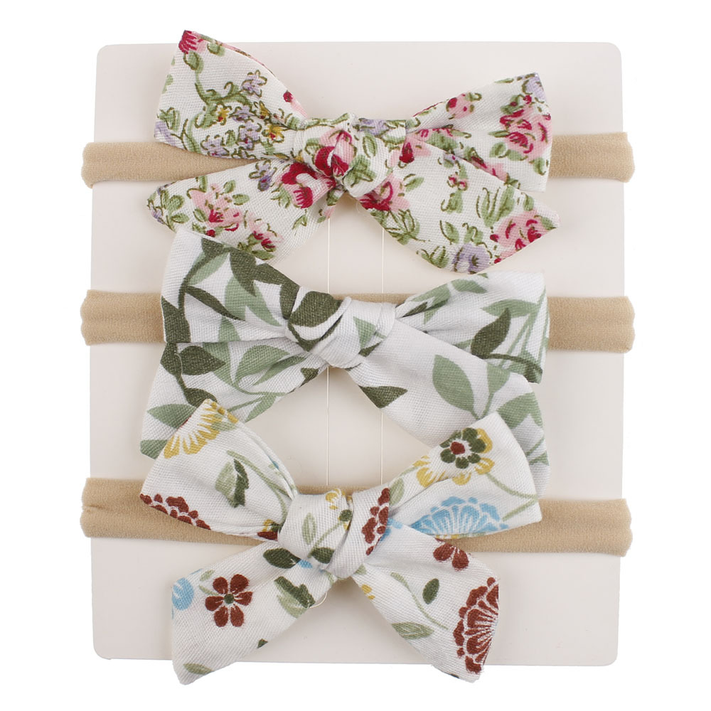 Floral Baby Haedband Bow Kids Nylon Hairband For Girls Elastic Headbands Spring Summer Head Band Cotton Linen Hair Accessories