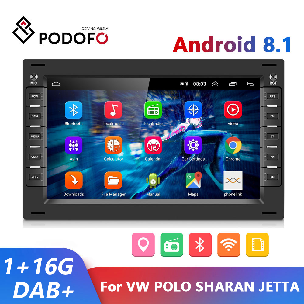 Podofo 2 din Android 8.1 Car Radio GPS Multimedia Player For VW Volkswagen GOLF POLO TRANSPORTER Passat b5 BORA MK5 SHARAN JETTA(China)