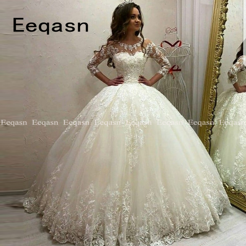 Luxury Vestido De Noiva Princess Ball Gown Wedding Dresses 2020 3/4 Sleeve Applique Lace Princess Bridal Dress Custom Made