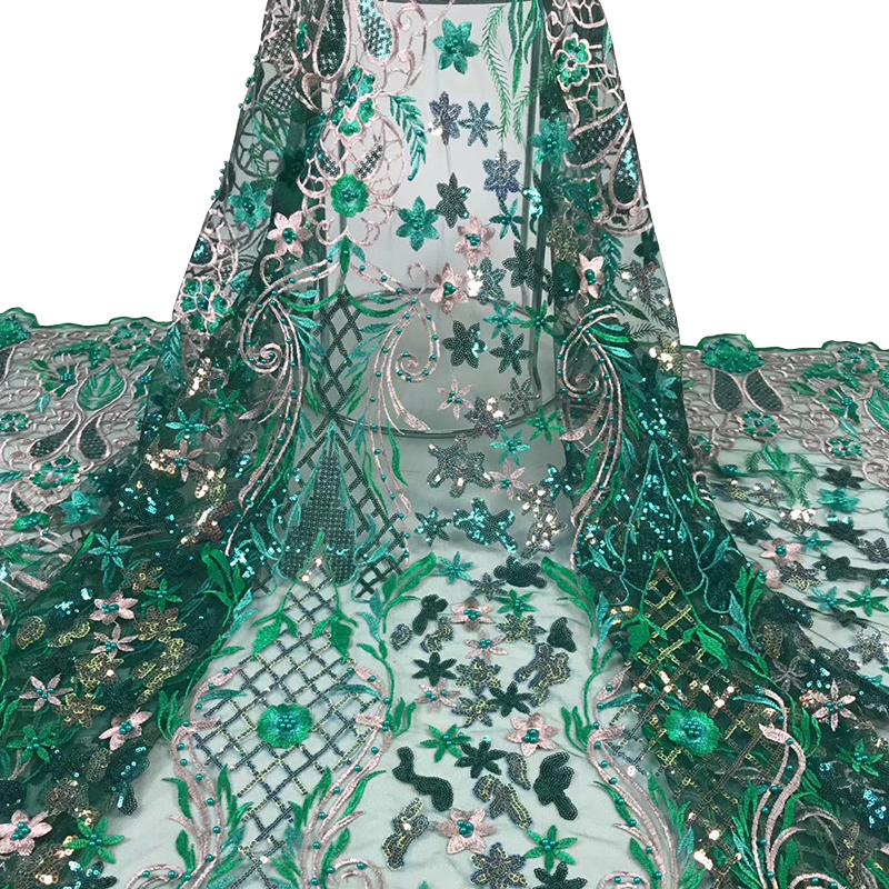 2020 Latest African Lace Fabric High Quality Swiss Voile Lace Embroidered Pearl Sequins Tulle Fabric For Evening Dress 5 Yards