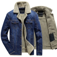 Winter Mens Denim Jacket Fur Collar Warm Thick Male Casual Jeans Coats Plus Velvet Mens Military Bomber Jackets Outwear Wool