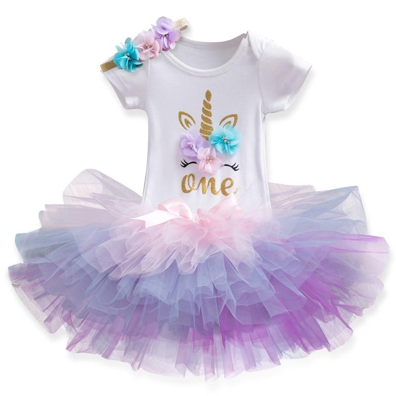 Bebê menina 1 ano de aniversário outfits tutu tule infantil unicórnio festa criança batismo vestido da criança do bebê vestidos de verão roupas