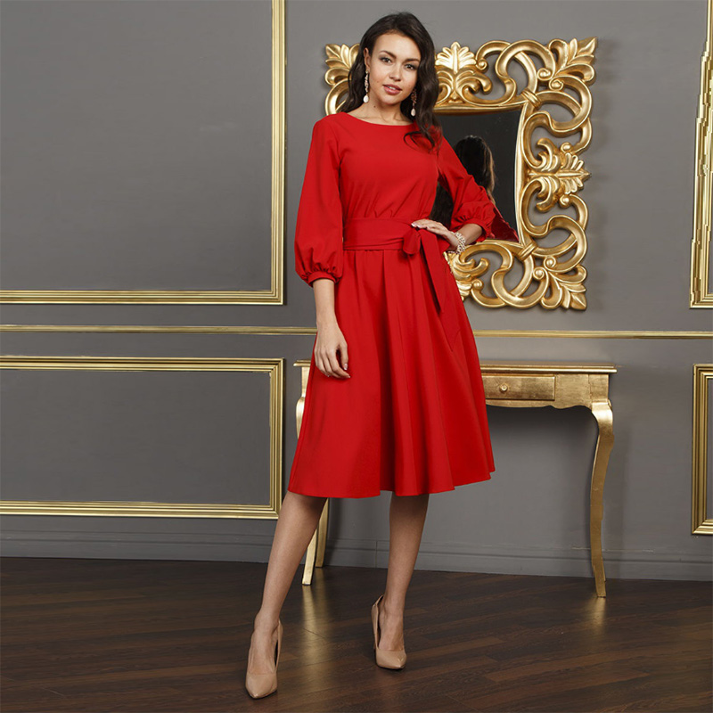 2019 herbst Vintage Solide Laterne Hülse a-Line Kleid Frauen Elegante O-ansatz Lange Schärpen Knie-Länge Casual Kleid
