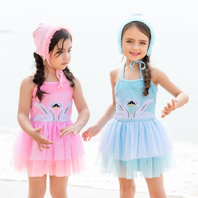 2019 New Style Korean-style Princess Dress-Swimwear GIRL'S Swimsuit CHILDREN'S Swimwear Dress + Hat One-piece