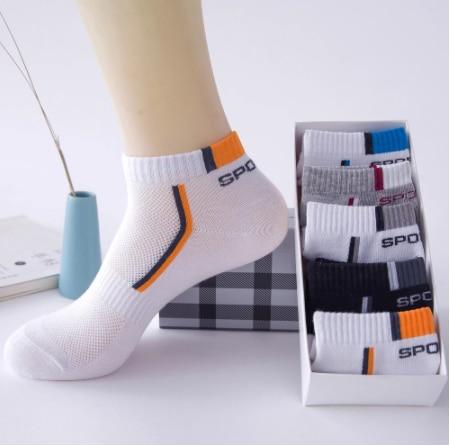 5 pares de meias masculinas conjunto meias de algodão malha respirável meias de basquete inverno esportes verão engraçado tornozelo curto meias tamanho grande 44 47