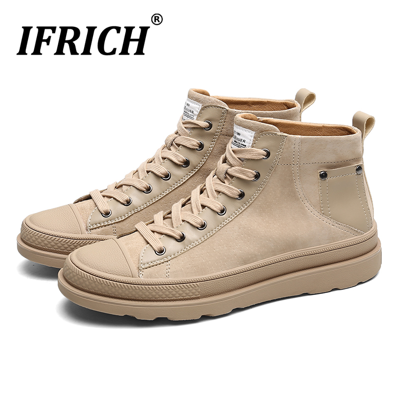 Spring High Top Leather Shoes For Men Popular Young Casual Shoes For Boy Fashion Men Shoe Good Quality Mens Designer Sneaker