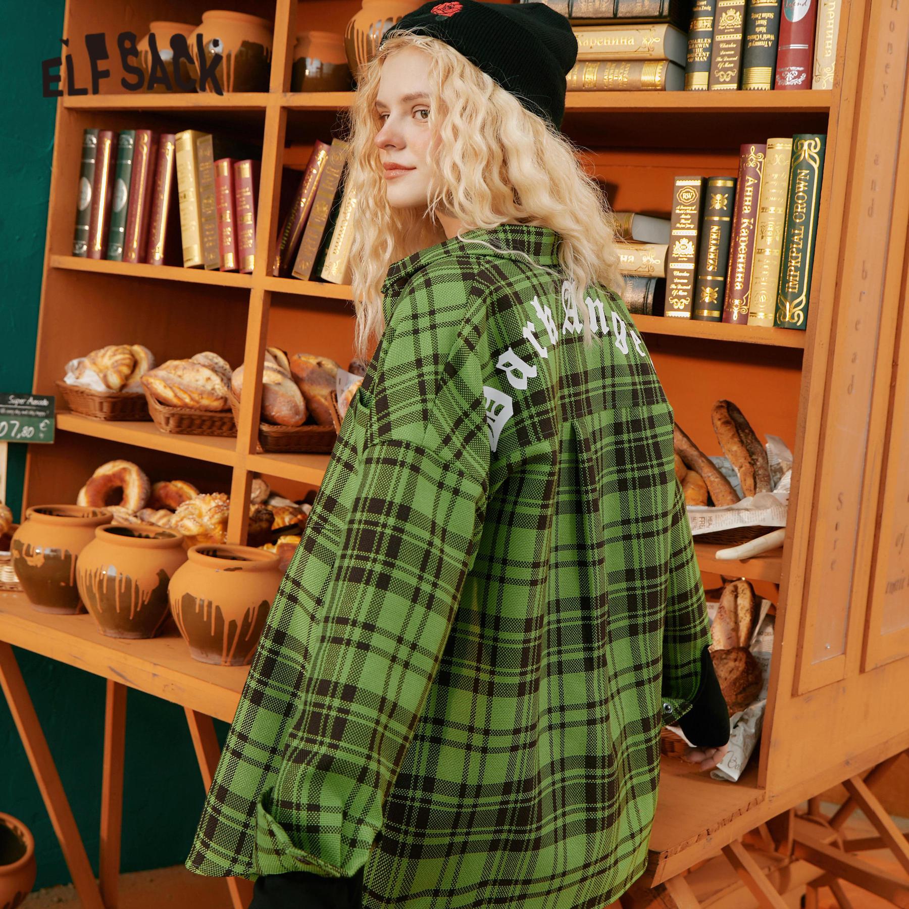 2021 Green Plaid Letter Print Casual Jacket Women,2021 Autumn Single Brested Full Sleeve Korean Ladeis,Oversize Daily Coat