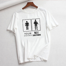 LUSLOS new women t shirt short sleeve casual white tshirt your brother my brothe