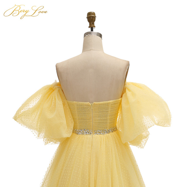 BeryLove Bright Yellow Prom Dress 2019 Pink Dot Tulle A-line Long Party Dress Formal  Latter Sleeves Elegant Dresses Vestido 6