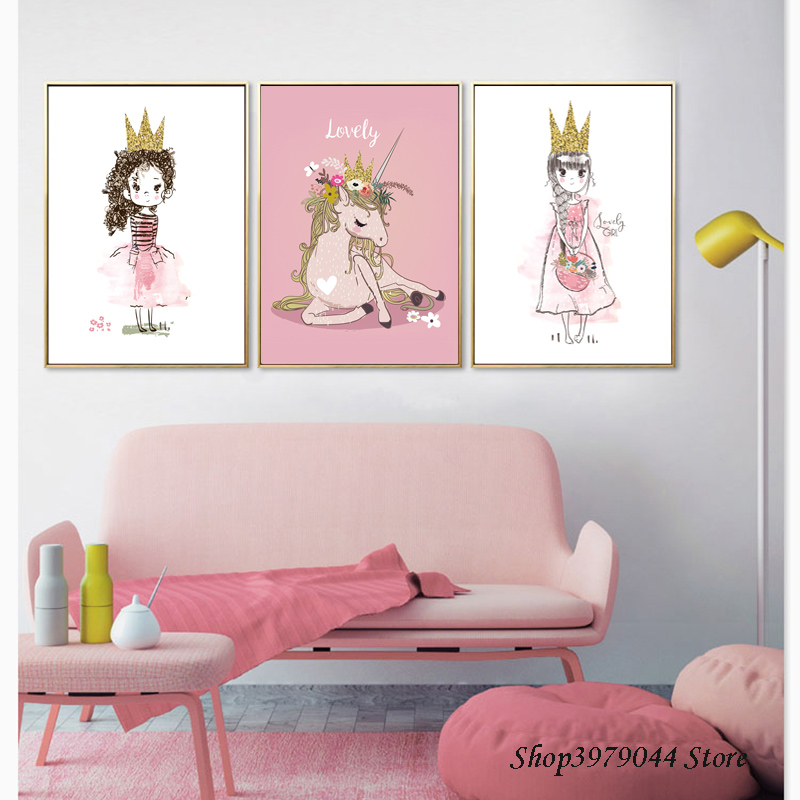 Pink Girl Posters And Prints Cartoon Pictures Nordic Poster Canvas Painting Unicorn Decoration Bedroom Baby Room Decor Unframed Buy At The Price Of 2 69 In Aliexpress Com Imall Com