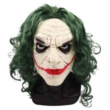 Joker Masker Film Batman The Dark Knight Horor Badut Cosplay Lateks Masker dengan Hijau Rambut Wig Menakutkan Halloween Pesta Kostum alat Peraga(China)