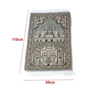 Image 4 - Толстые мягкие коврики для поклонения в гостиной ковер в этническом стиле ковер 65X110 см с кисточкой домашний пол мусульманское Молитвенное одеяло прямоугольник