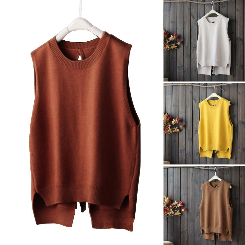 New Autumn Women Solid Color Back Lace Up Sleeveless Knitted Pullover Knitwear Vest