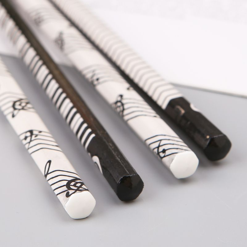 4pcs Musical Note Pencil HB Standard Pencil Music Stationery Piano Notes School Student Gift image