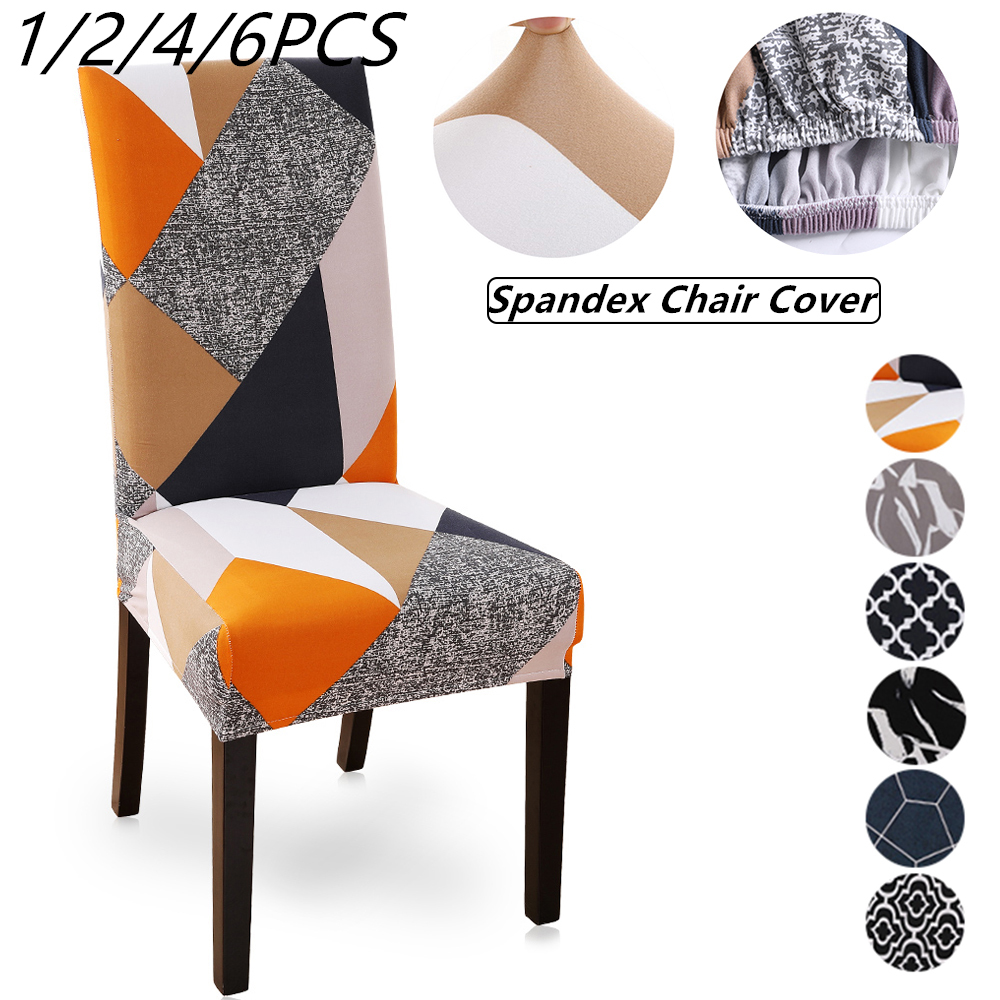New 1/2/4/6Pcs Printed Elastic Chair Cover Dining Spandex Stretch Removable Slipcovers For Dining Room Banquet Wedding Kitchen